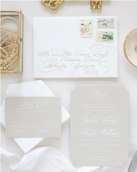 custom wedding invitations with hand calligraphy