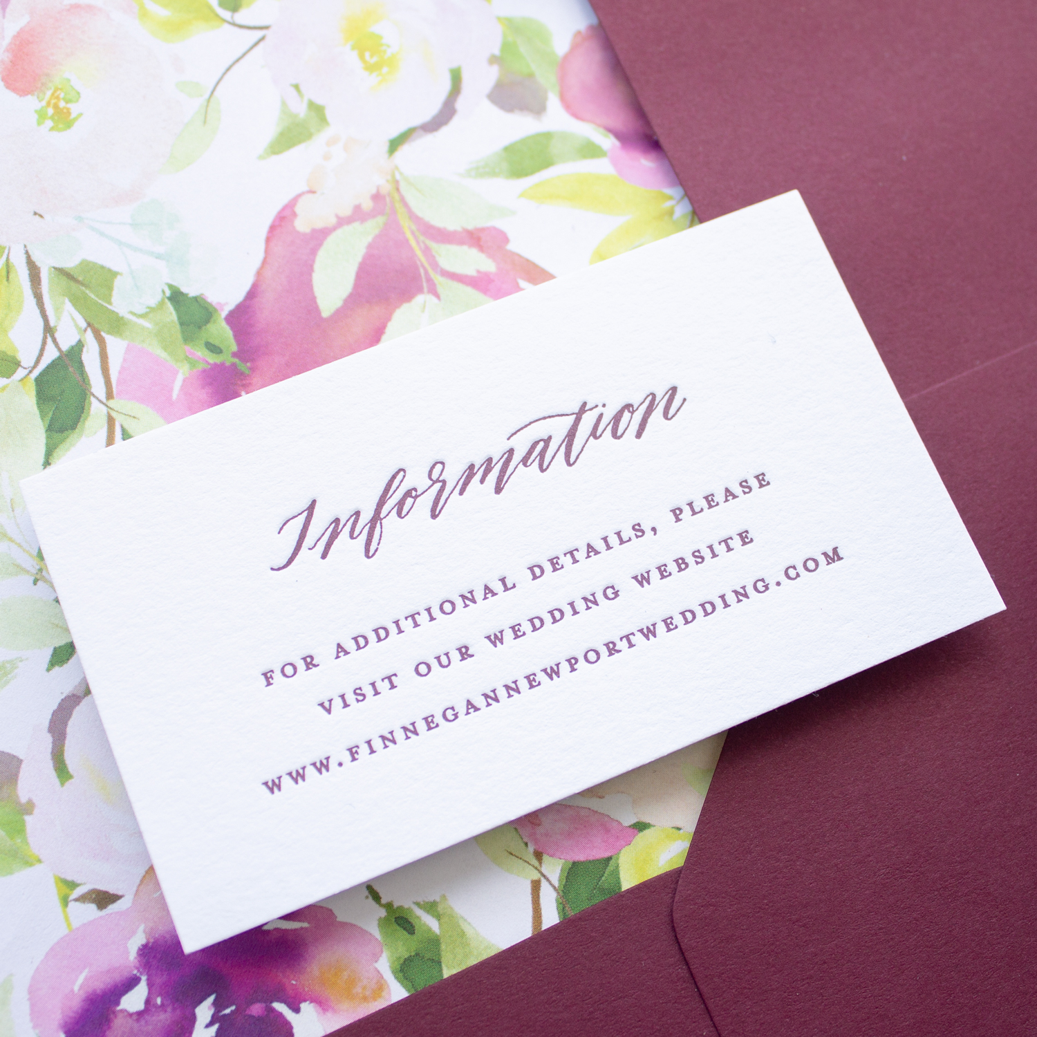 wedding website insert in letterpress