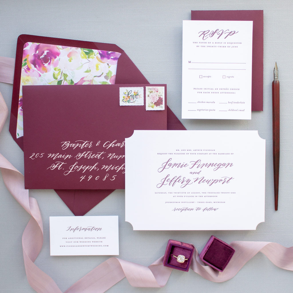 traditional wedding invitations with names in calligraphy