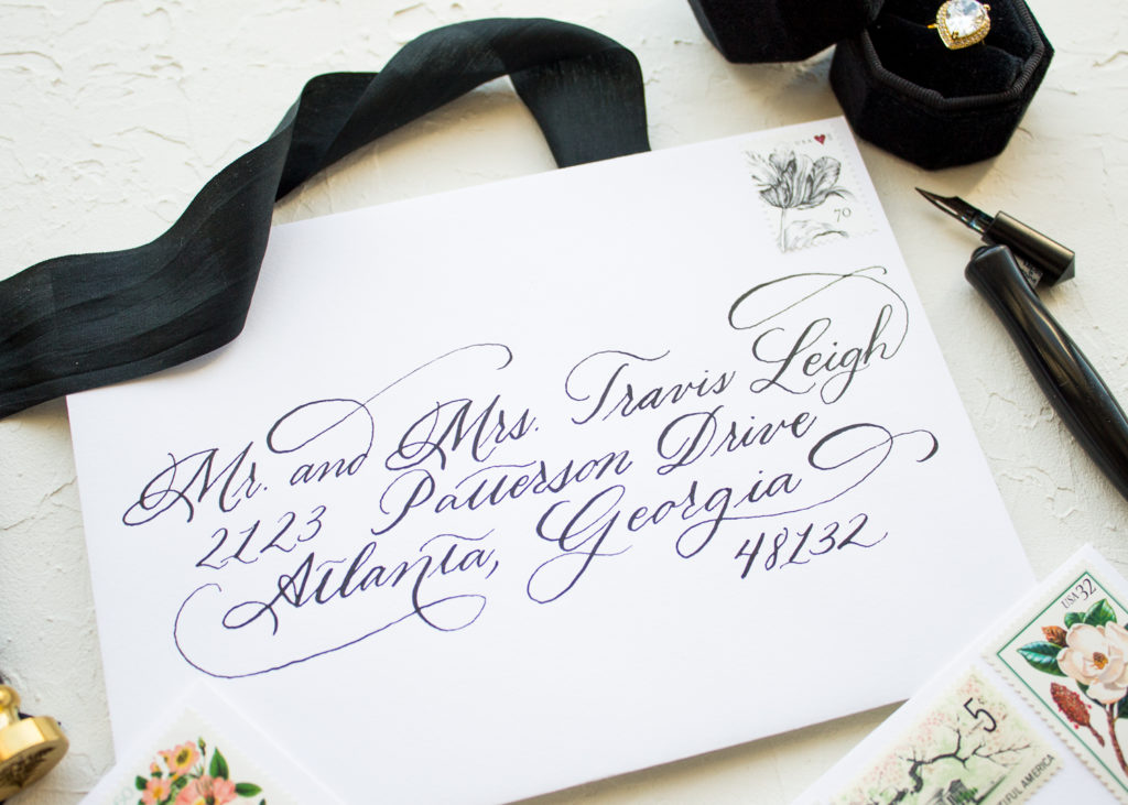 envelope calligraphy for wedding invitations