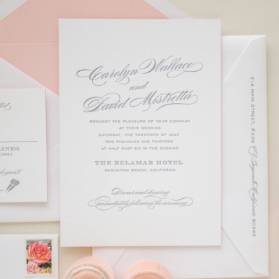 typographic invitation in letterpress