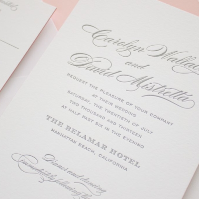 gray letterpress invitations
