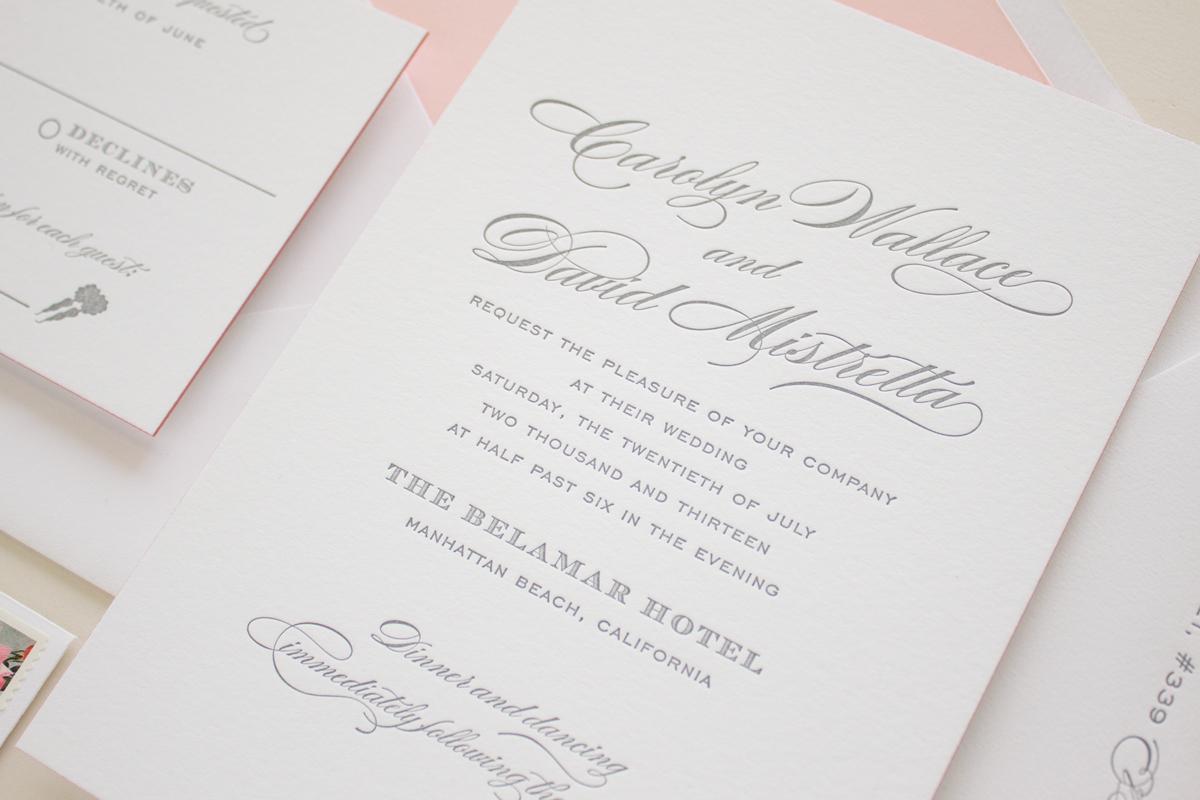 gray letterpress invitations