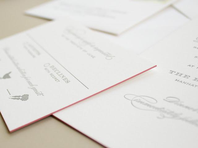 pink edge painting on letterpress invitations