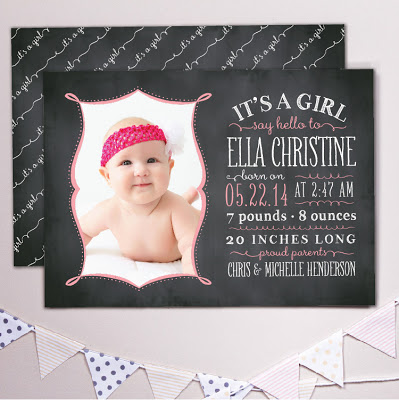 banter and charm, photo birth announcement, baby announcement, chalkboard card