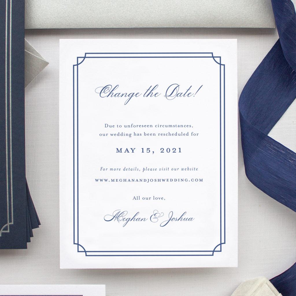change the date card for wedding postponement