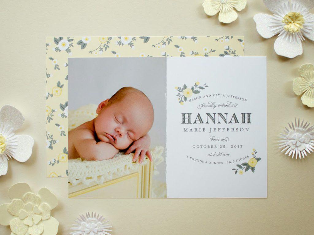 photo birth announcement yellow flowers