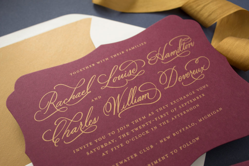 gold silk screen wedding invitations