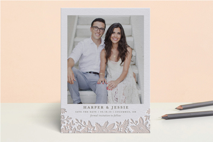 letterpress save the date cards for Minted