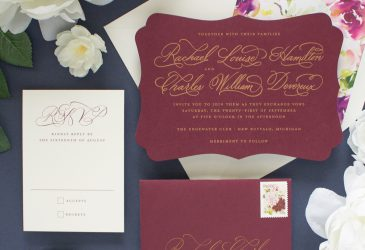 gold and burgundy wedding invitations