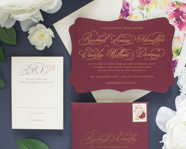 Cherished | Gold and Burgundy Wedding Invitations