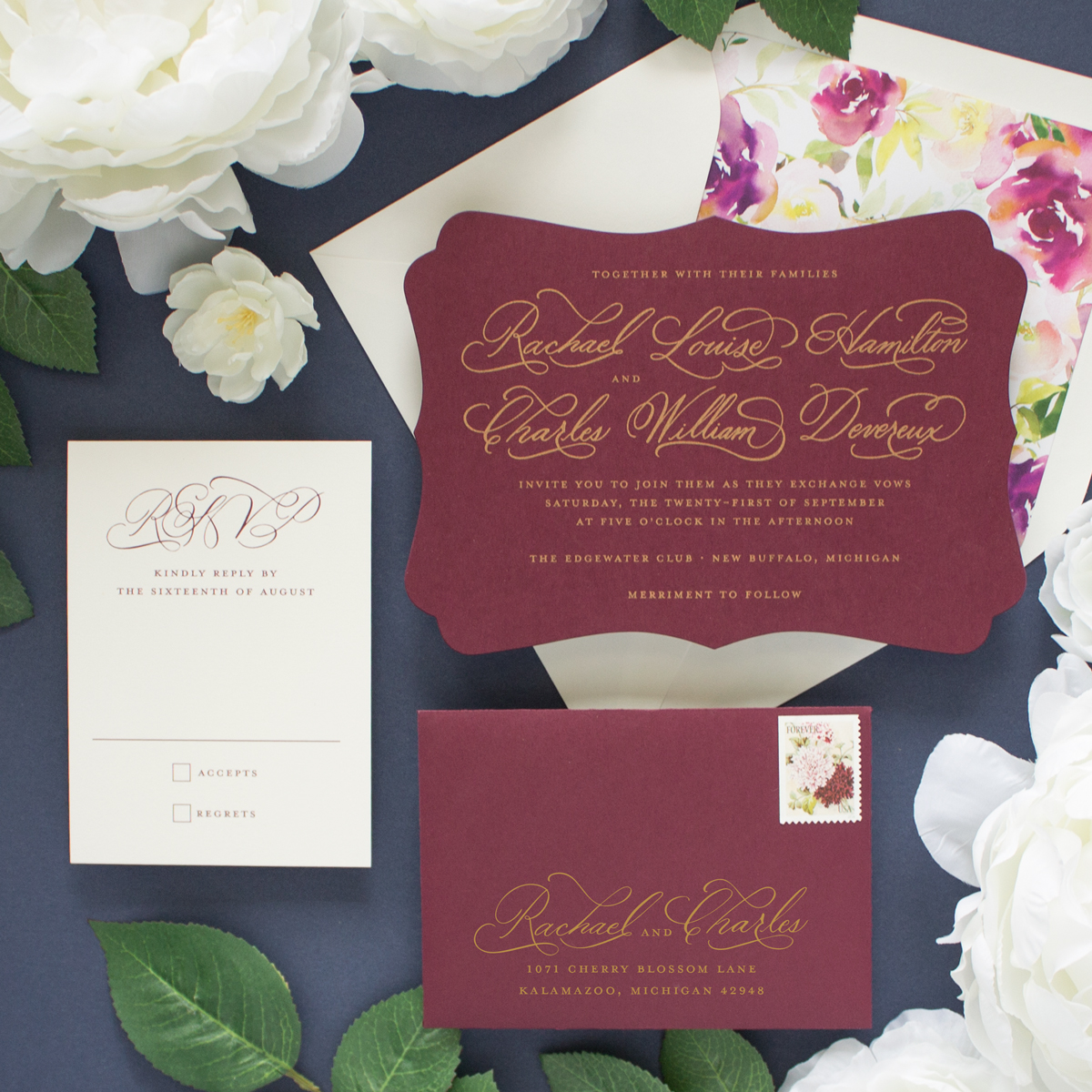 Cherished | Gold and Burgundy Wedding Invitations - Banter and Charm