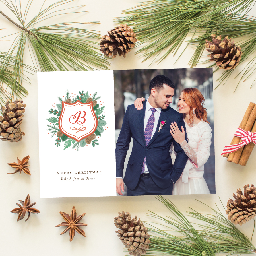 watercolor crest newlywed christmas card