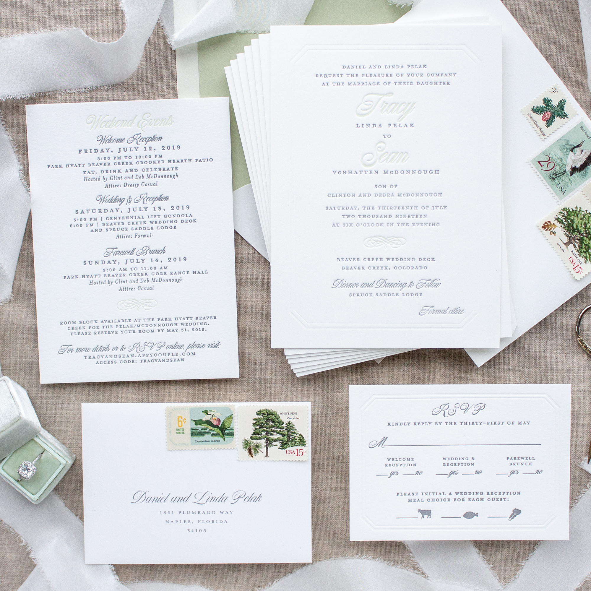 Colorado wedding invitation suite