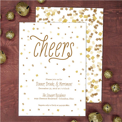 new years party invitation party invite confetti invitation