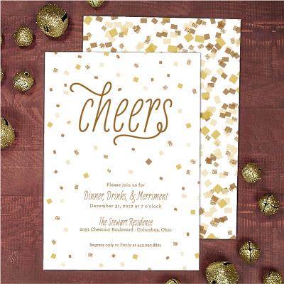 new year's party invitation, party invite, confetti invitation