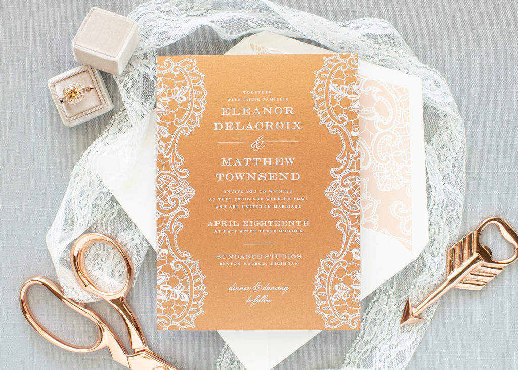 Copper wedding invitations with lace