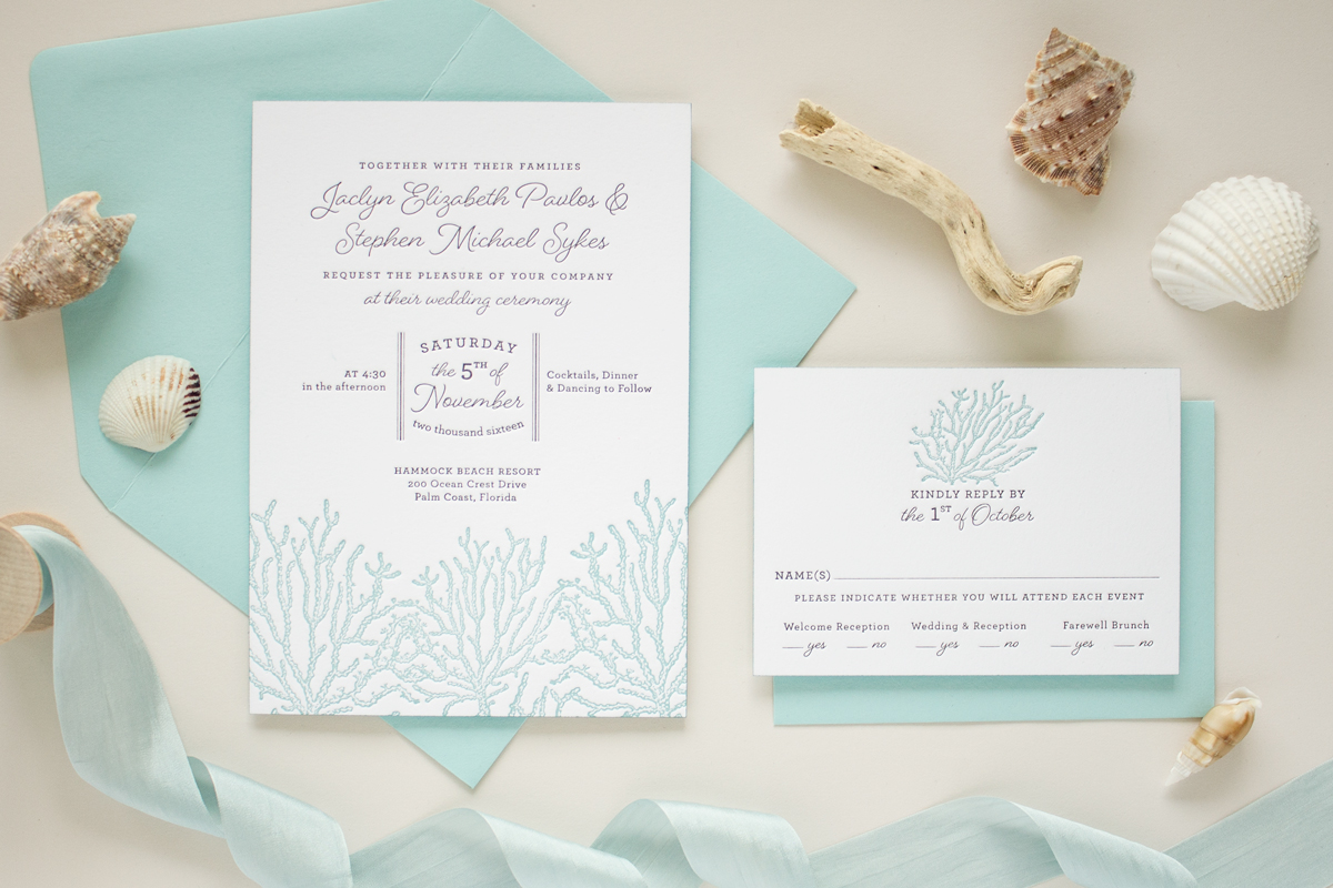 letterpress beach wedding invitations