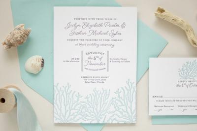 letterpress invitation for beach wedding