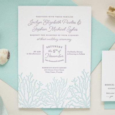 letterpress invitation for beach wedding