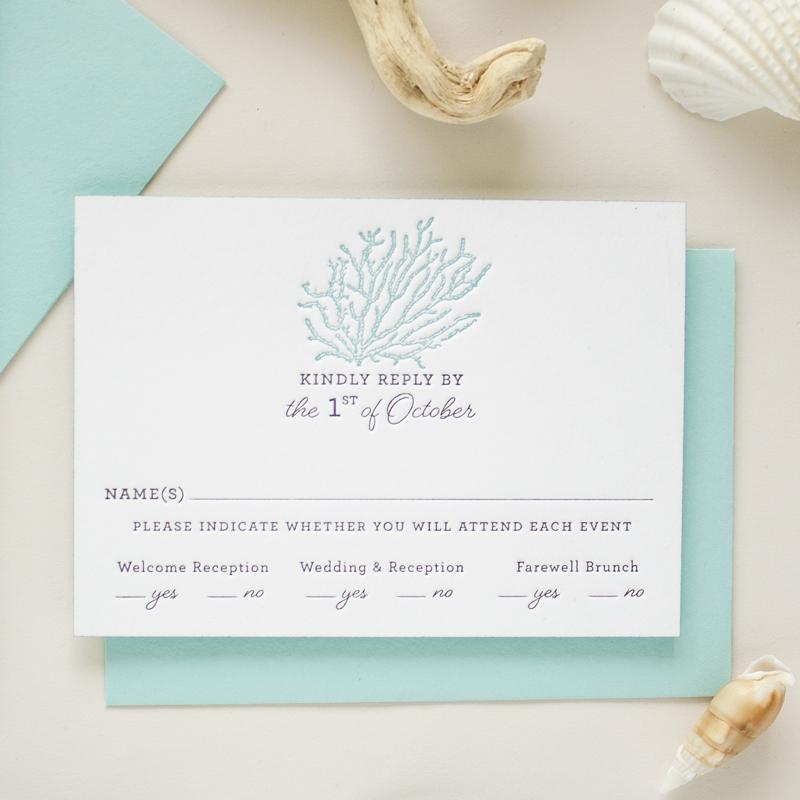 Email Wedding Invitation: Letterpress Beach Wedding Invitations