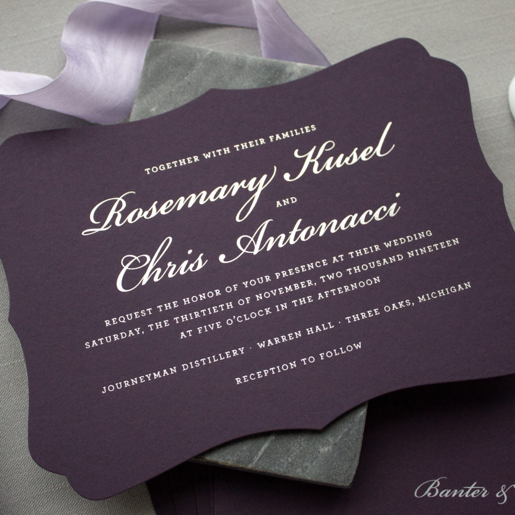 Custom invitation suite michigan wedding