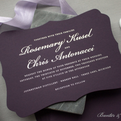 custom invitation suite for Michigan wedding