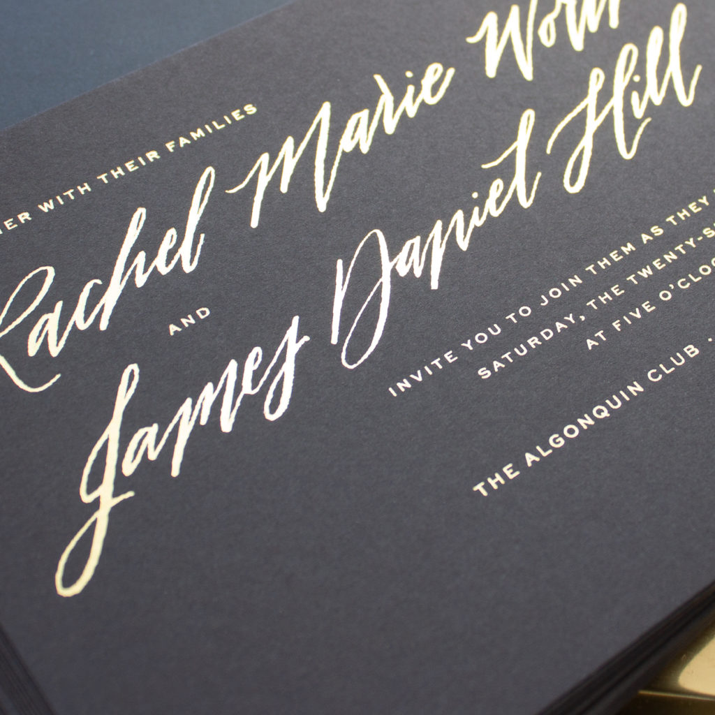 gold foil on black paper