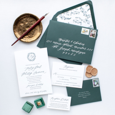 Custom letterpress invitation dark green calligraphy
