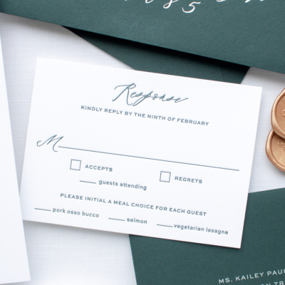 green letterpress wedding invitation rsvp card