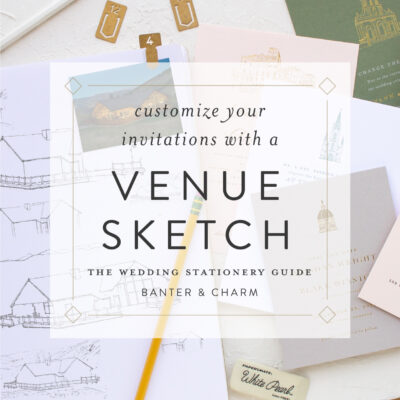 wedding invitations with a venue sketch
