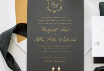 metallic gold silk screen wedding invitations