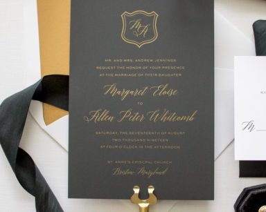Metallic Gold Silk Screen Wedding Invitations | Dapper