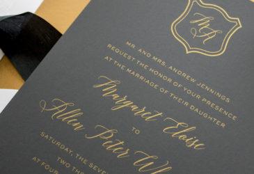 metallic gold silk screen wedding invitations