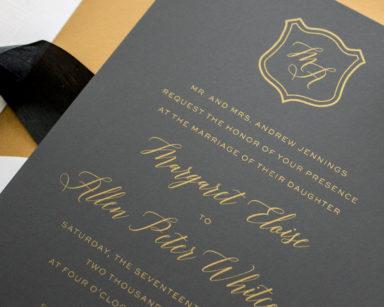 Dapper | Metallic Gold Silk Screen Wedding Invitations
