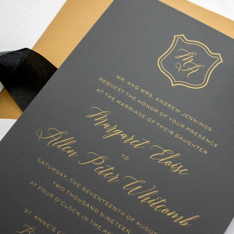 metallic gold on black