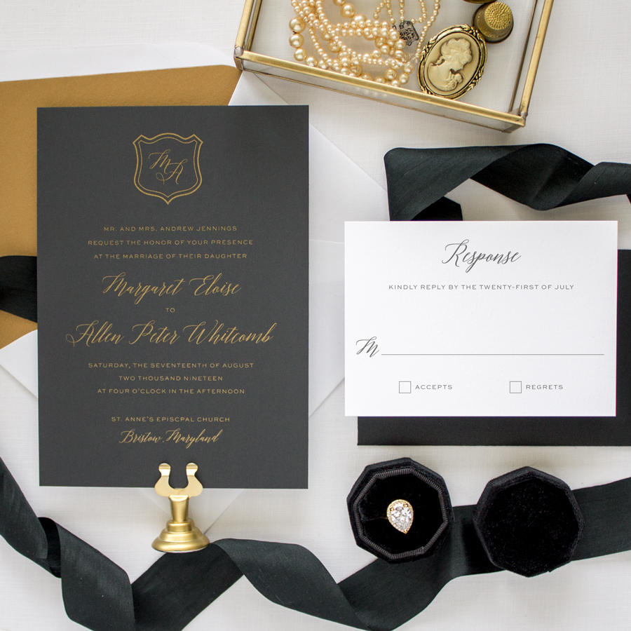 gold and black invitation suite