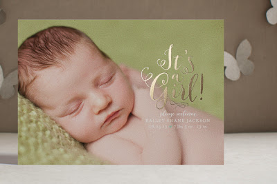 gold foil, metallic, birth announcement, luxe, custom, baby girl