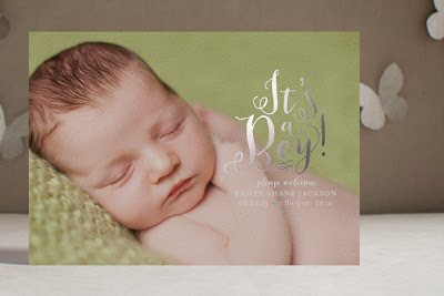 silver foil, metallic, birth announcement, luxe, custom, baby boy