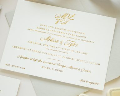 Gold Foil Monogram Invitation | Darling
