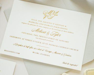 Gold Foil Monogram Invitation | Darling