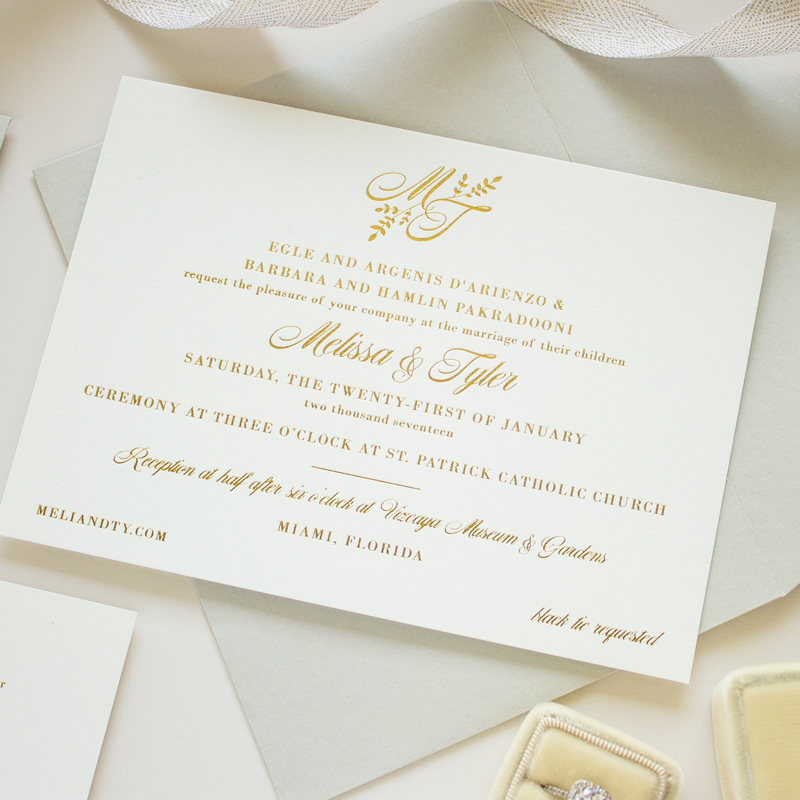 Gold Foil Monogram Invitation Darling Banter and Charm