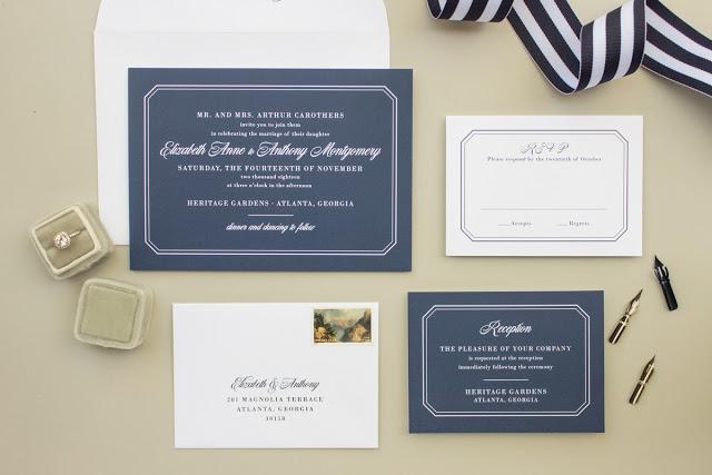 formal wedding invites in navy