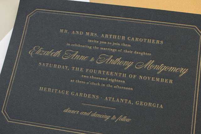 formal wedding invitations in navy and gold