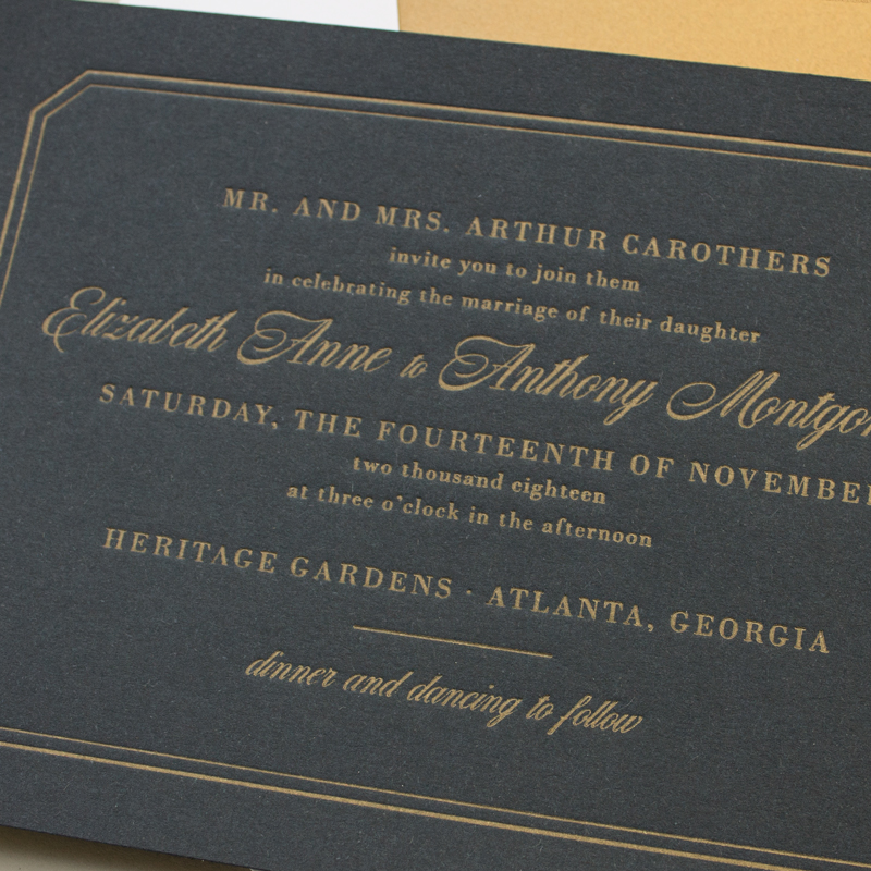 gold and navy letterpress invitations