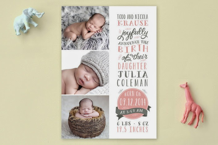 baby girl photo card birth announcement