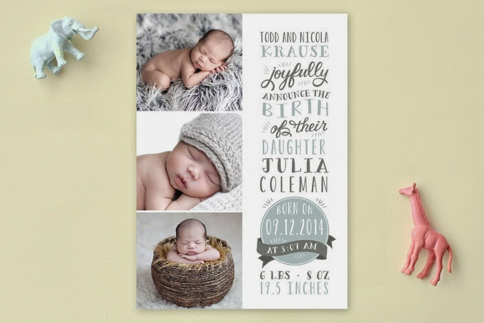 hand lettering vintage typography poster style birth announcement