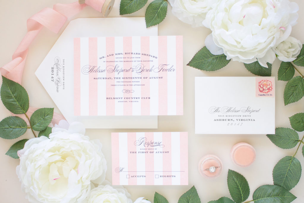 pink striped letterpress invitation suite