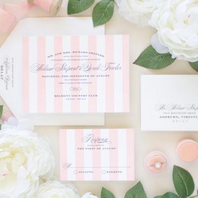 pink striped letterpress invitation suite