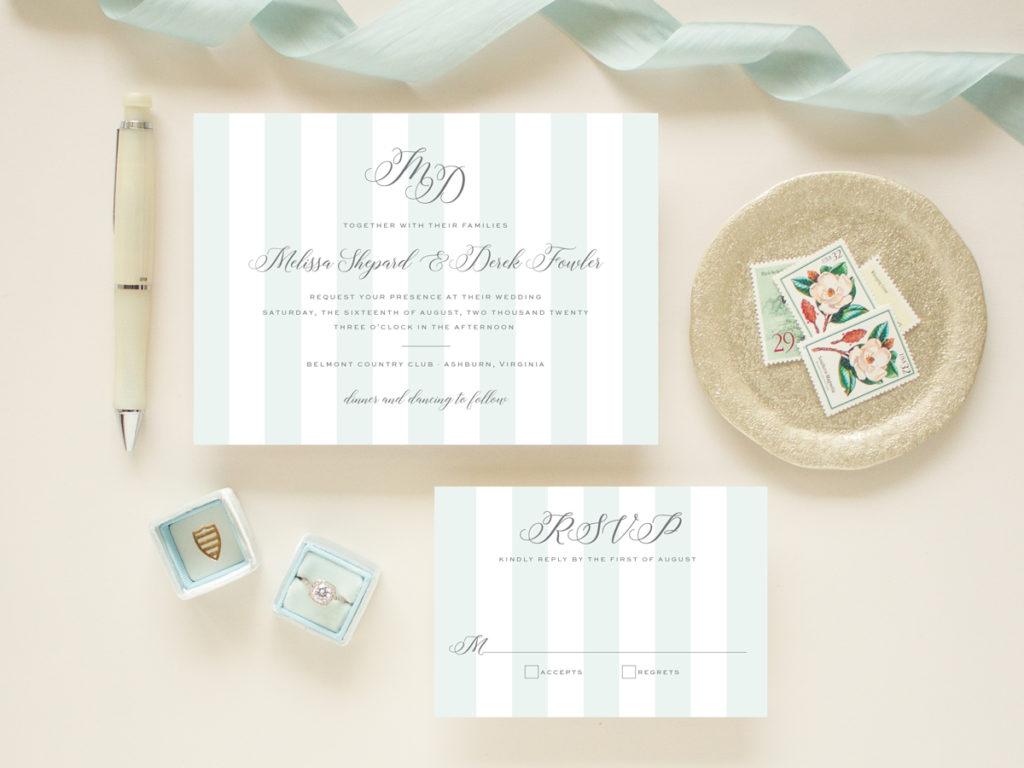 wedding monogram and stripes